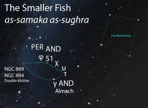 The Smaller Fish (as-samaka as-sughra) as it appears in the east under dark skies about 1 hour after sunset in mid-October.