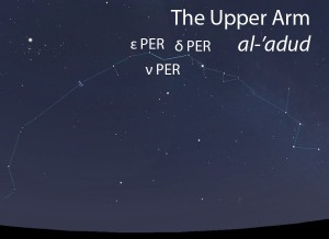 The Upper Arm (al-'adud) as it appears in the west about 45 minutes before sunrise in early November.