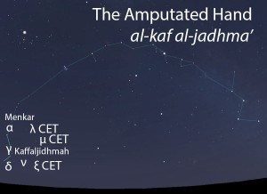 The Amputated Hand (al-kaf al-jadhma') as it appears in the west about 45 minutes before sunrise in early November.