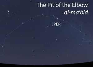 The Pit of the Elbow (al-ma'bid) as it appears in the west about 45 minutes before sunrise in early November.
