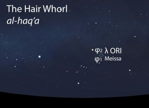 The Hair Whorl (al-haq'a) as it appears in the west about 45 minutes before sunrise in early December.