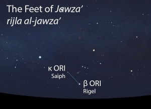 The Feet of Jawza' (rijla al-jawza') as they appear in the west about 45 minutes before sunrise in early December.