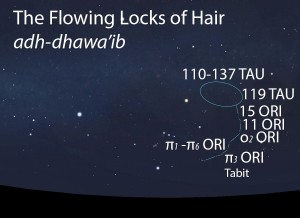 The Flowing Locks of Hair of Jawza' (ra's al-jawza') as it appears in the west about 45 minutes before sunrise in early December.