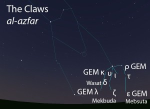 The Claws (al-azfar) as they appear in the west about 45 minutes before sunrise in early January.