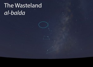 The Wasteland (al-balda) as it appears in the west about 45 minutes before sunrise in late June.