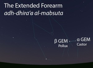 The Extended Forearm(adh-dhira' al-mabsuta) as it appears in the west about 45 minutes before sunrise in early January.