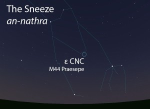 The Sneeze (an-nathra) as it appears in the west about 45 minutes before sunrise in early January.
