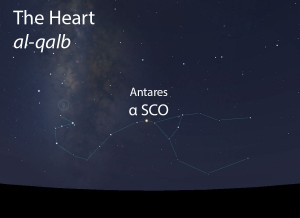 The Heart (al-qalb) of the Scorpion (al-'aqrab) as it appears in the west about 45 minutes before sunrise in mid-May.
