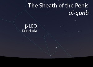 The Sheath of the Penis of the Lionq (qunb al-asad) as it appears in the west about 45 minutes before sunrise in early March.