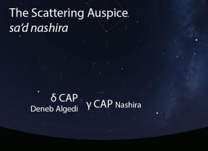 The Scattering Auspice (sa'd nashira) as it appears in the west about 45 minutes before sunrise in early August.