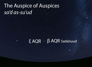 The Auspice of Auspices (sa'd as-su'ud) as it appears in the west about 45 minutes before sunrise in early August.